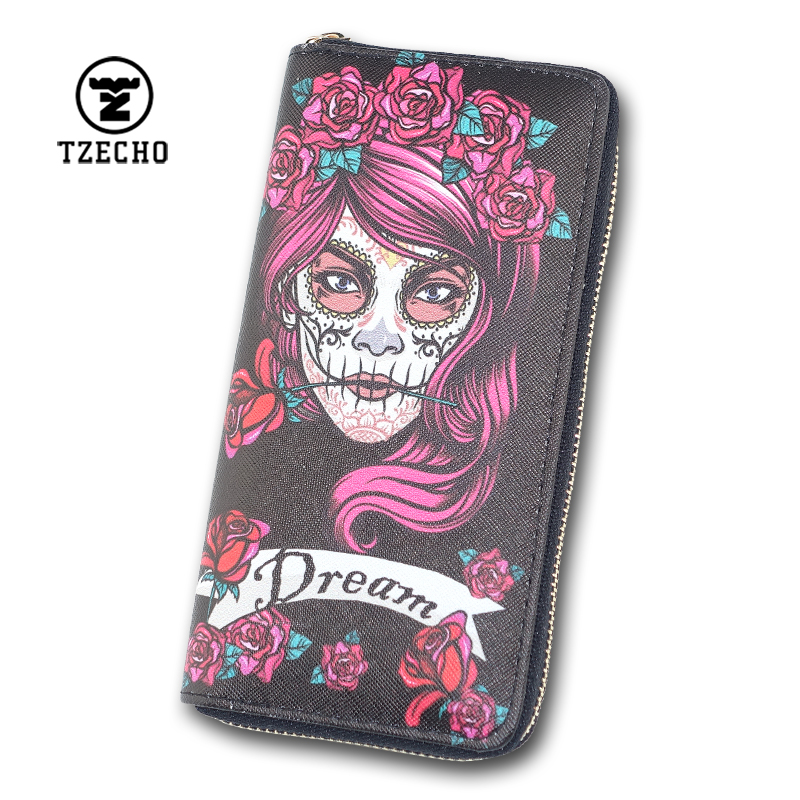 TZECHO Long Wallet for Women With Phone PU Walet Skull Head Clutch Female Purses Rfid Credit Cards Holder Ladies Women Wallets tzecho women wallets long zipper wallet for women with phone pu walet skull head ladies clutch purses rfid credit cards holder