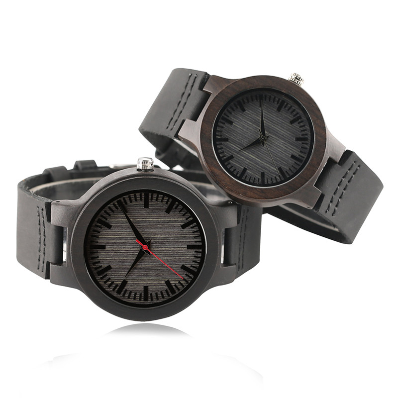 KW Couple Lover Natural Wood Quartz Wristwatch Sport Black Leather Strap Watches Men 45mm Dial Women 38mm Creative Gift