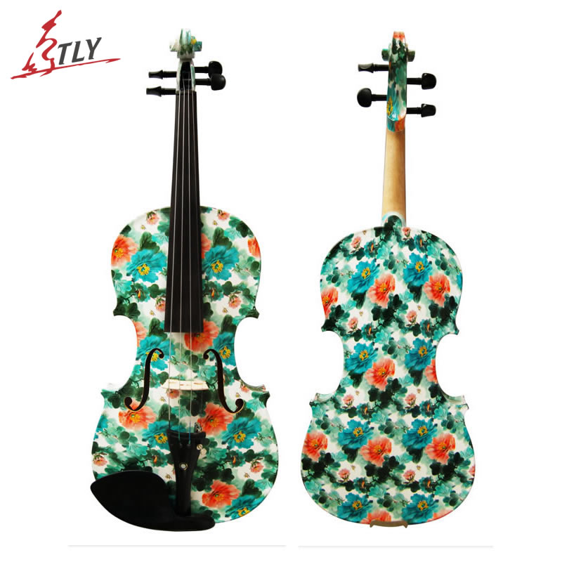 Kinglos Art Acoustic Violin Ebony Fittings Hand Painted Gorgeous Flower Maple Violin 4/4 with Shoulder Rest Case Bow (LY-1206) kinglos antique acoustic violin 4 4 beethoven carved maple art violin ebony fittings with shoulder rest case bow rosin bridge