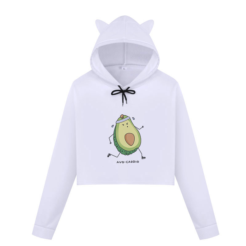 Vegan Avocado Cartoon Print Sweat Femme Harajuku Kawaii Cute Crop Top Hoodies Kpop Fashion Long Sleeve Cropped Sweatshirts Women