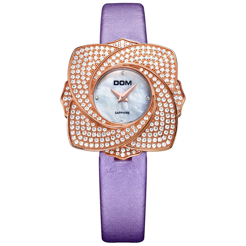 DOM Women Watches Ribbon Flower Petals Stainless Steel Watches Women Top Brand Luxury Quartz Clock Wrist Watch Relogio Feminino luxury wrist watches for women fashion stainless steel bracelet watches women s clock relogio feminino brand large dial watch z