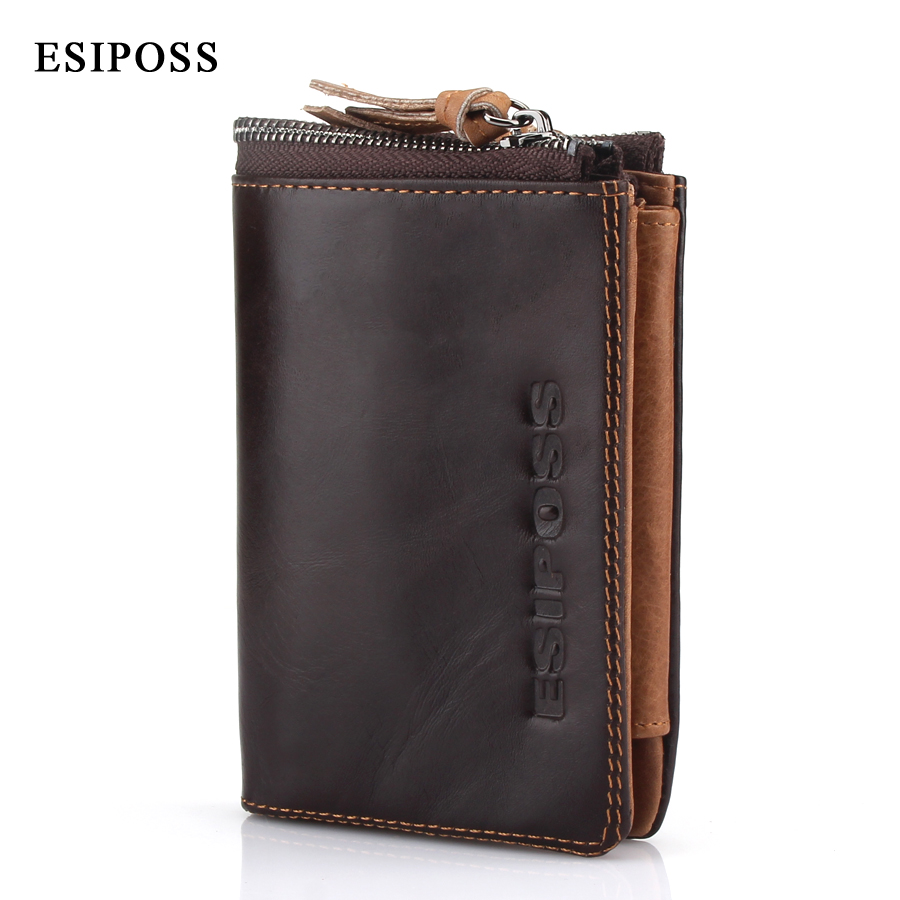 ESIPOSS Fashion Men Wallet Brand Genuine Leather Coin Pocket Purse Card/ID Holder Short Wallets For Men Portfolio Cartera Clutch lafeebaoluo men wallets men leather genuine wallet purse luxury brand men s famous design black short card holder portfolio man page 1