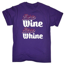 Novelty Tee Shirts MenS Short More Wine Less Whine Printed O-Neck