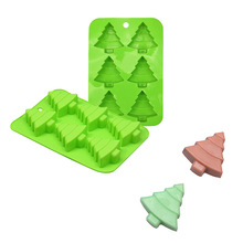 цена на 6 Holes Tree Shaped Silicone Cake Mold For Cookie Jelly Chocolate Mould DIY Christmas Theme Cake Decoration Tool Baking Tray