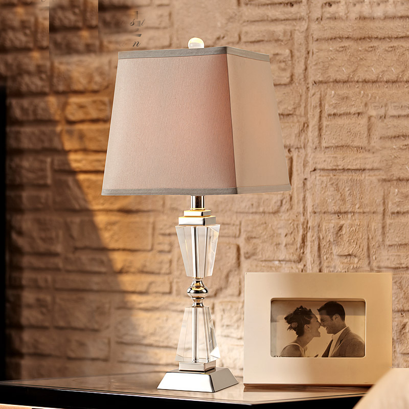 Free Luxury Modern Table Lamp Crystal Table Lamp Fabric Lampshade Living Room Abajur Table lamp For Bedroom Lamparas De Mesa modern led table lamp lustre geometric diamonds table lamps for bedroom bedside lampshade abajur lampara de mesa art luminaria