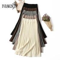 2018 Autumn Winter Women Warm Korean Skirts Lady Elegant Version High Waist Skirt Girls Long Knitted Skirts For Femme