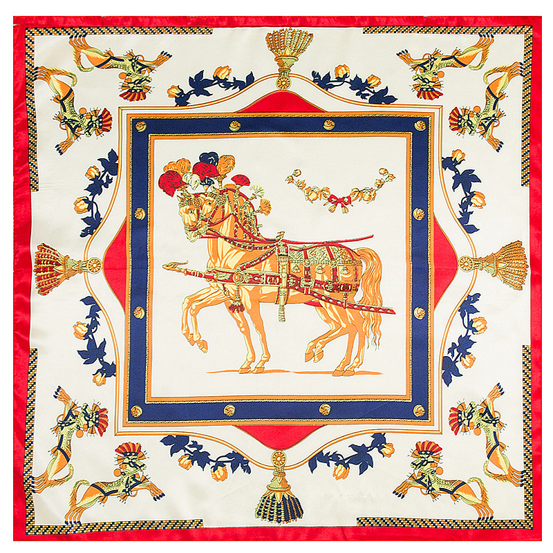 60*60cm Big With The Models Of Horses Silk Scarf For Ladies Bag Free Shawl Scarves For Women Handkerchief Scarf Luxury Bran A006