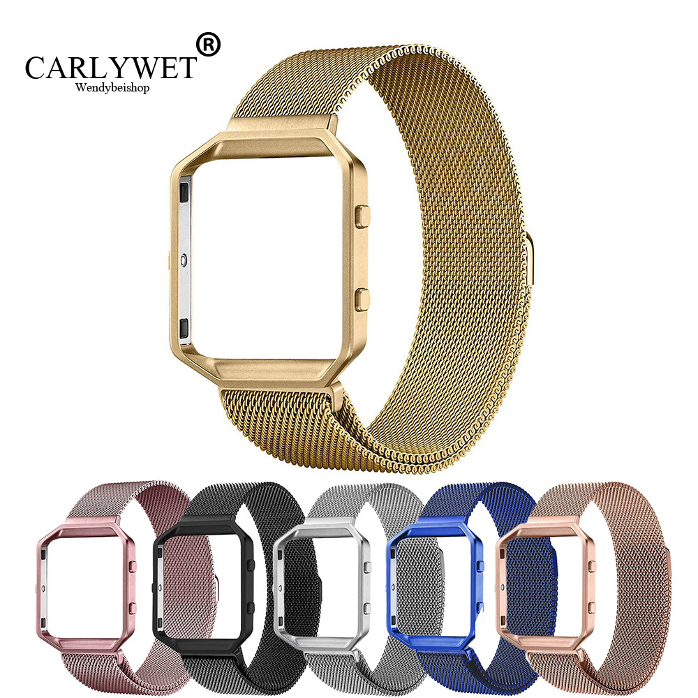 CARLYWET Wholesale Milanese Steel Wrist Watch Band Strap Belt Magnetic Closure with Case Metal Frame For Fitbit Blaze 23 watch in Watchbands from Watches
