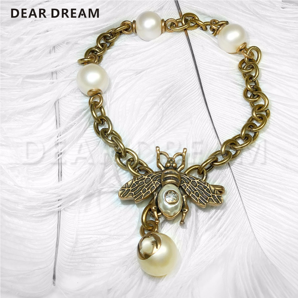 Jewelry & Accessories New Fashion Retro Girl Bee Pearl Chain Collar Necklace For Wedding Party Birthday Present
