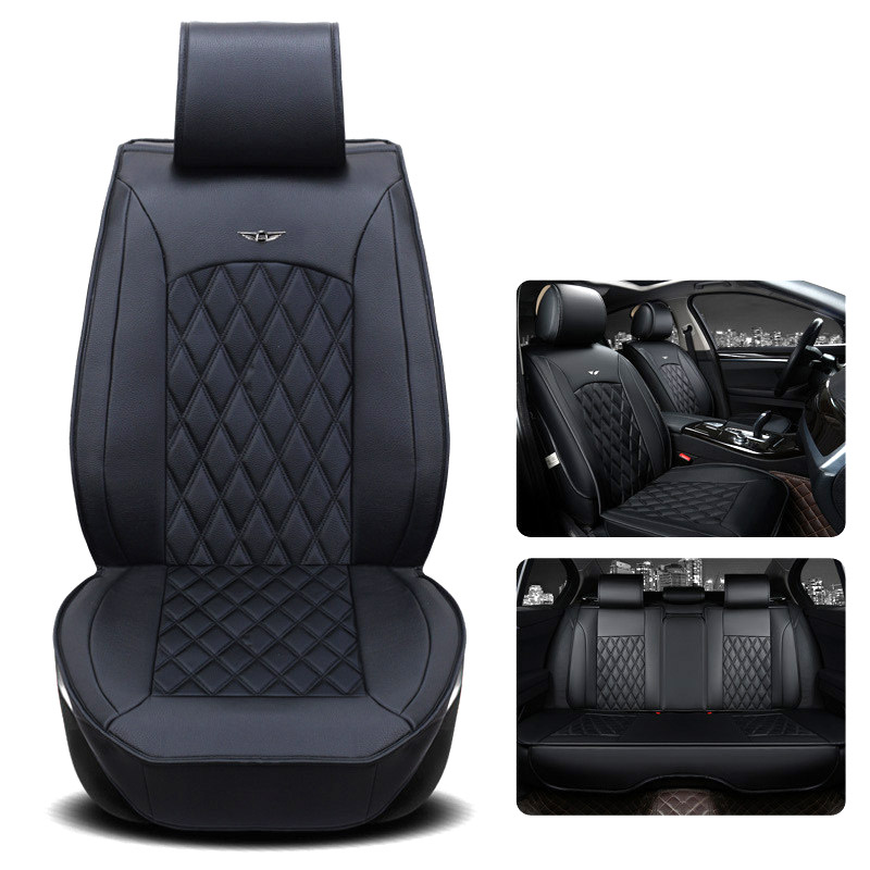 gspscn genuine leather car seat cushion square style auto seat cover car luxurious leather seat. Black Bedroom Furniture Sets. Home Design Ideas