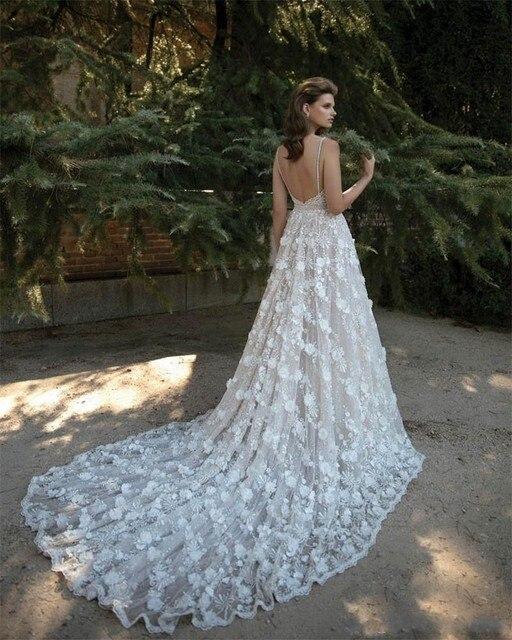 cd579ca57dfd 2017 Berta Bridal Wedding Dress Spaghetti V-Neck Gorgeous Vestido De Noiva Lace  Appliques Wedding Bridal Dress Cathedral Train