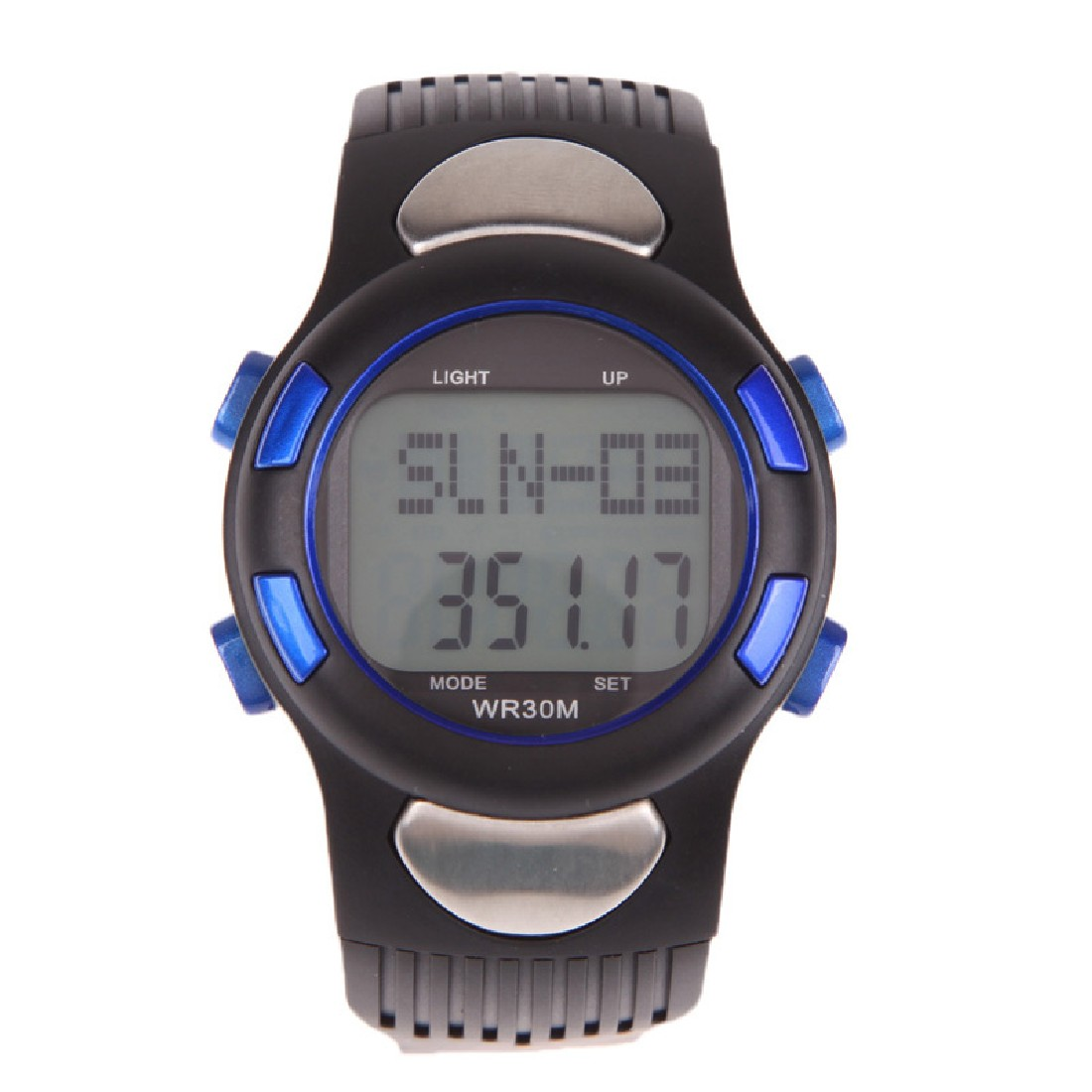 Top Quality 3D Pedometer Heart Rate Monitor Wristwatch With Backlight Blue