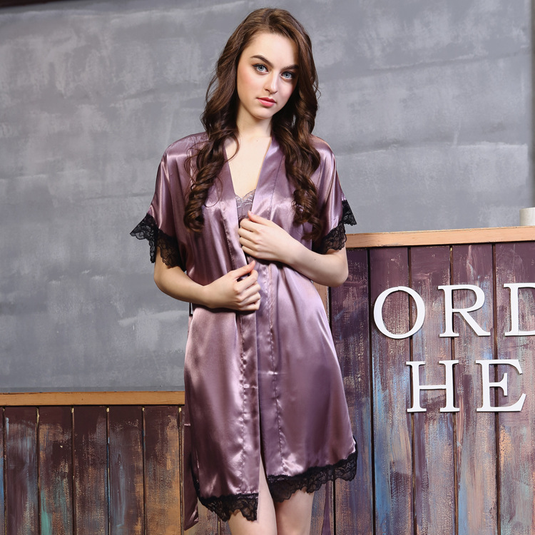 Free Shipping women's Robe Sets With Short Sleeve Silk Satin Lace Nightwear Robe + Nightdress Two Piece Mini Sleepwear 2016 Hot