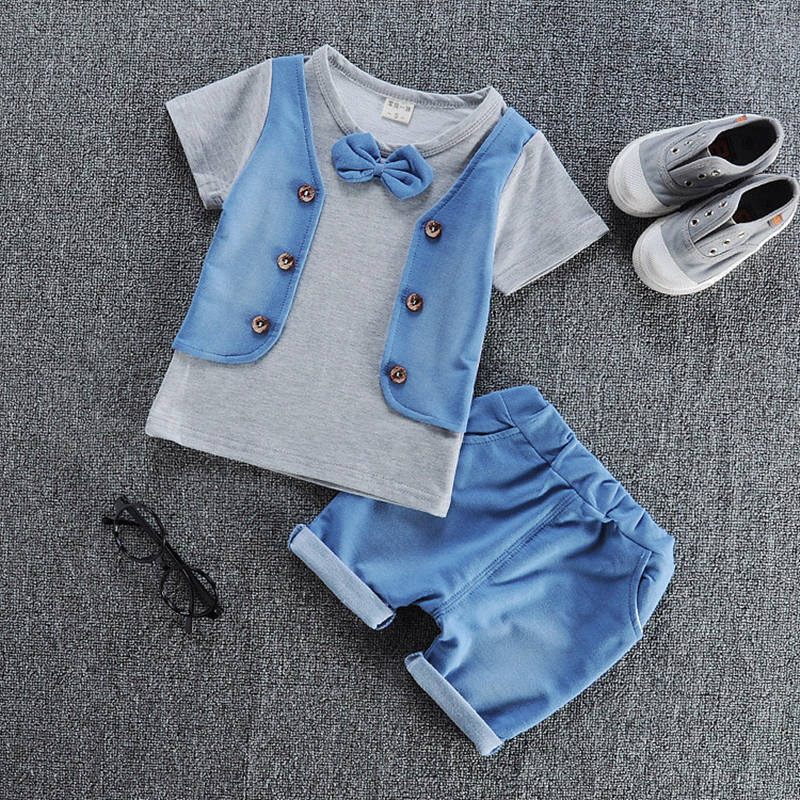 Baby Boys Clothing Set Summer Baby Boy Clothes Toddler  Gentleman Children Suit Infant T-shirt+Shorts Pants 2Pcs Boy Casual Suit