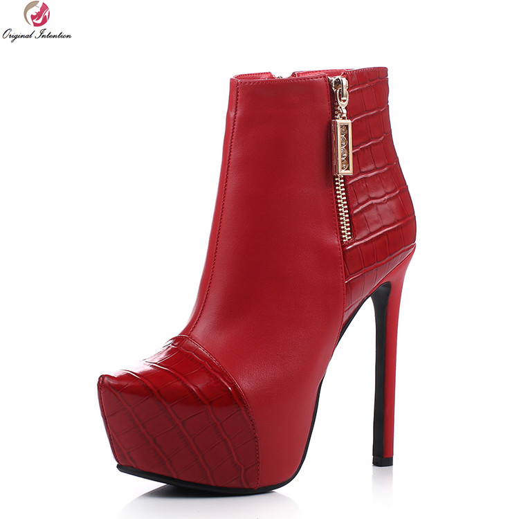 Original Intention New Stylish Women Ankle Boots Real Leather Round Toe Thin Heels Boots Black Red Shoes Woman US Size 3-9.5 original intention elegant women ankle boots platform round toe thin heels boots black white red shoes woman plus us size 3 16