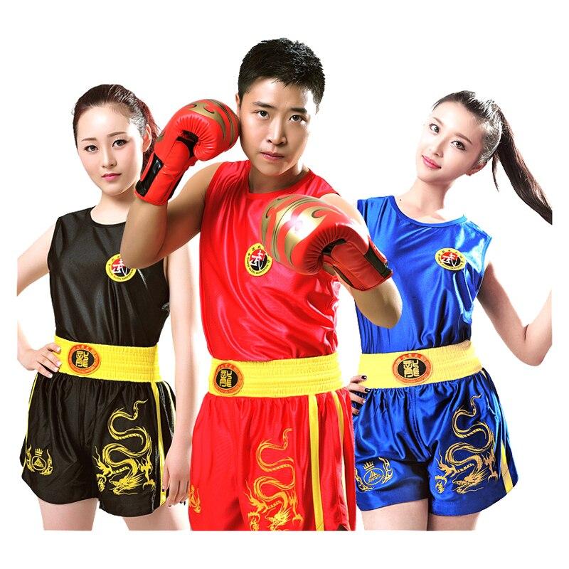 Dragão 110-190cm Crianças Dos Miúdos Adultos Sanda MMA Muay Thai Calções De Boxe + Encabeça TShirts Sparring Grappling Uniformes outfits DEO