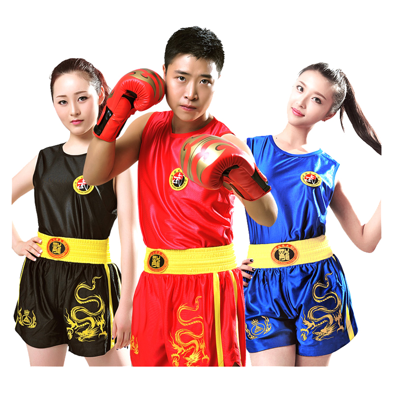 Dragon 110-190cm Toddlers Kids Adults Muay Thai MMA Boxing Shorts+Tops TShirts Sanda Grappling Sparring Uniforms Outfits DEO