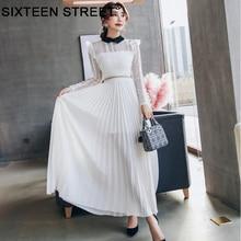 Costura branca deusa maxi vestido longo-outono de mangas compridas vestido de noite elegante bodycon 2018 Nova moda solúvel em Água vestido de renda