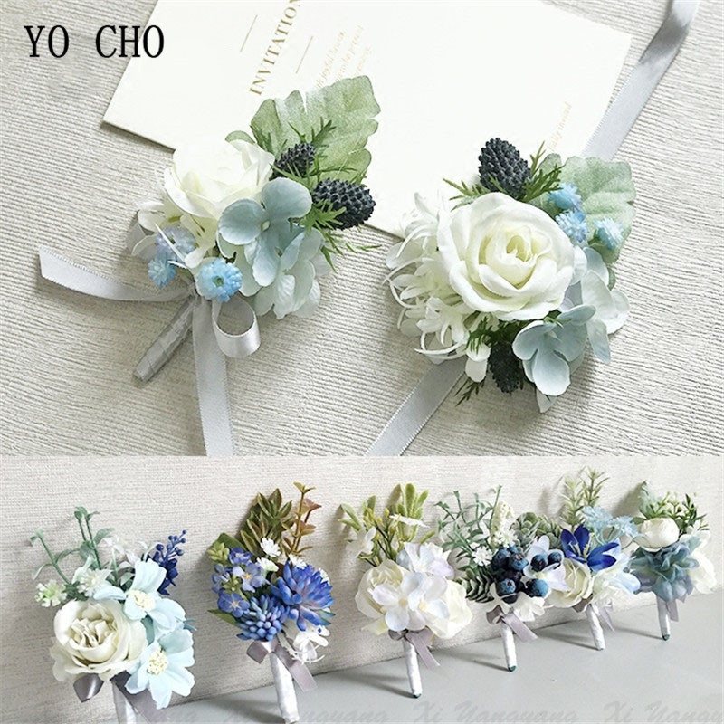 YO CHO Wedding Accessories Boutonnieres Men Ribbon White Roses Blue Orchid Marriage Corsages Boutonnieres Groom Wedding Supplies