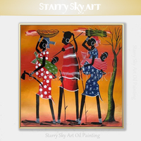 New Arrivals Artist Hand painted Abstract African Woman Oil Painting on Canvas Beautiful Wall Art African Tribe Oil Painting