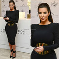 Custom Made Jewel Long Sleeves Tea Length Corset Cheap Prom Dresses 2014 Kim Kardashian Evening Gown