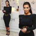 Custom Made Jewel mangas compridas Tea comprimento Corset baratos Prom Dresses 2014 Kim Kardashian vestido de noite