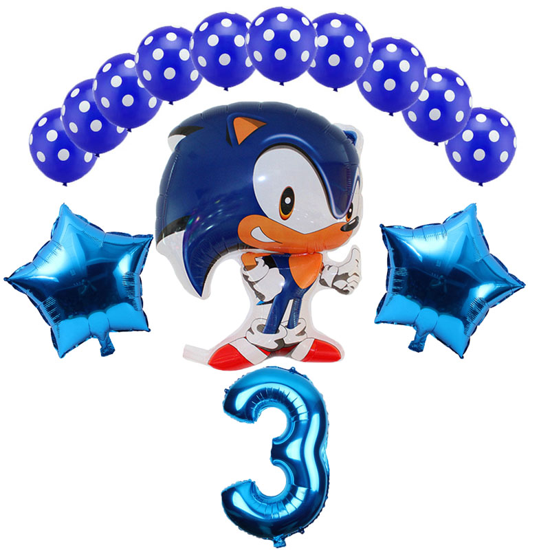 14pcs/lot Sega Sonic The Hedgehog Super Hero Double Side Foil Balloon Boy Girl Brithday Party 32 Inch Number Balloons Decor