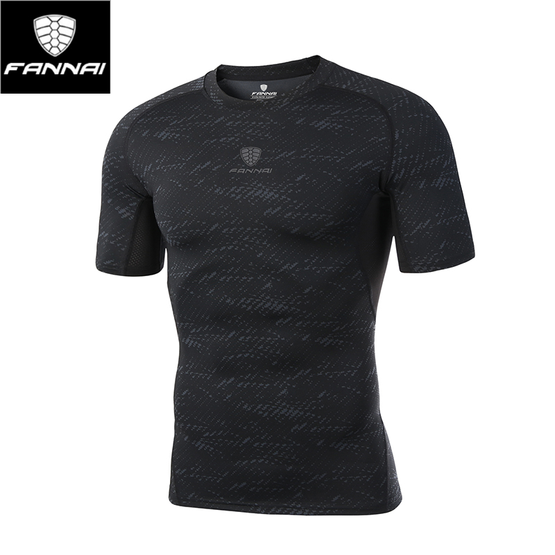 FANNAI Mens Sport Quick Dry T-shirt Short Sleeve Trainning Exercise Bodybuilding Tops Male Polyester Breathable T-shirt