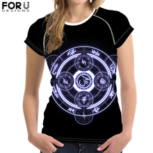 FORUDESIGNS Gothic Magic Circle T-Shirt for Cool Women Girl Customize Picture Short Sleeve Tee Tops Female Black Summer Tshirt