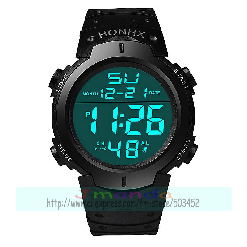 100pcs lot HONHX 9001 1 new big round dial digital watch for kids hot selling high