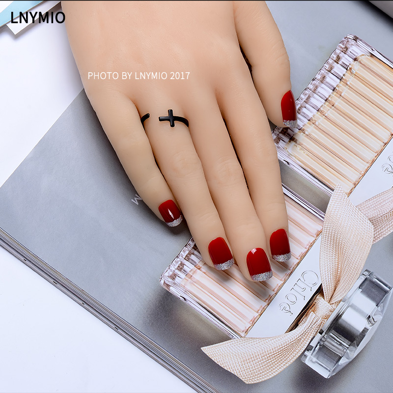 Red fake nails silver gold powder nail tips french short classic ...