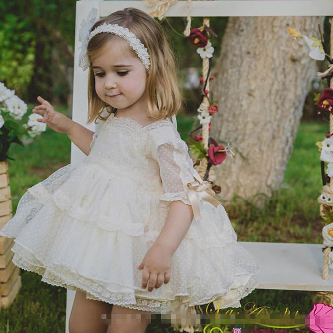 Nouveauté dentelle bébé filles enfants mariage princesse robe fille robe fête d'anniversaire Pageant arc robe Tulle robe de bal G516