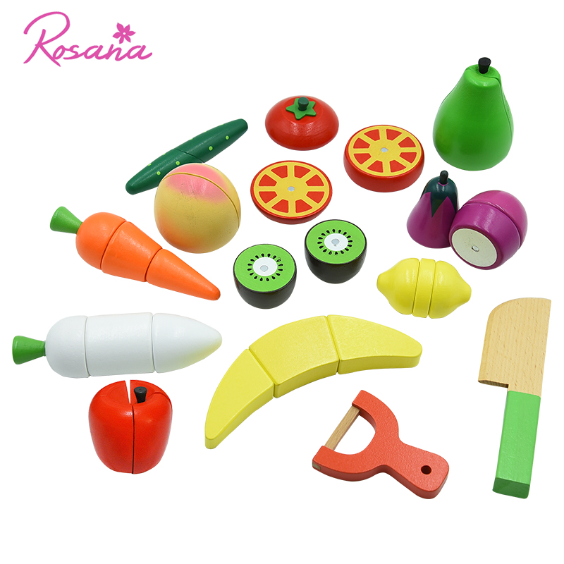 Rosana Children Wood Kitchen Toys Magnet Pretend Play Mini Food Fruit Vegetable Cutting Toy Accessories House Plaything For Kid