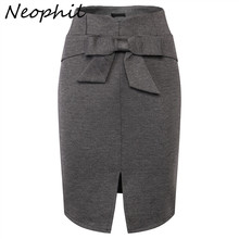 Neophil, зимние женские миди юбки-карандаш, для женщин, плюс размер, 5XL, тонкая юбка с разрезом спереди и бантом, высокая талия, для офиса, черная юбка, S1112