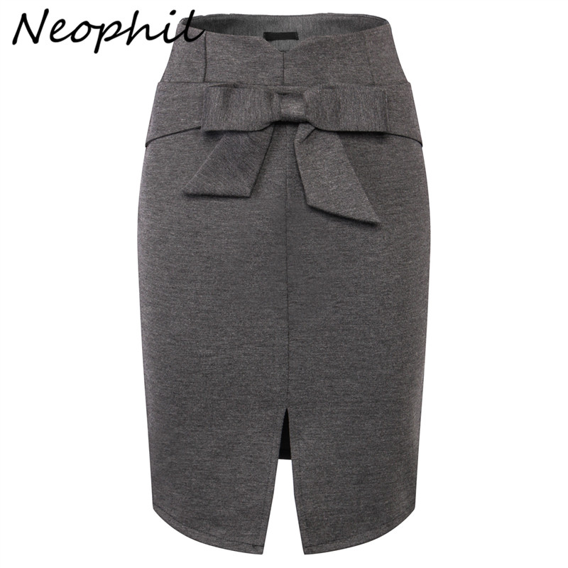 Neophil 2020 Summer Ladies Midi Pencil Skirts Women Plus Size 5XL Slim Front Split Bow High Waist Office Work Black Skirt S1112