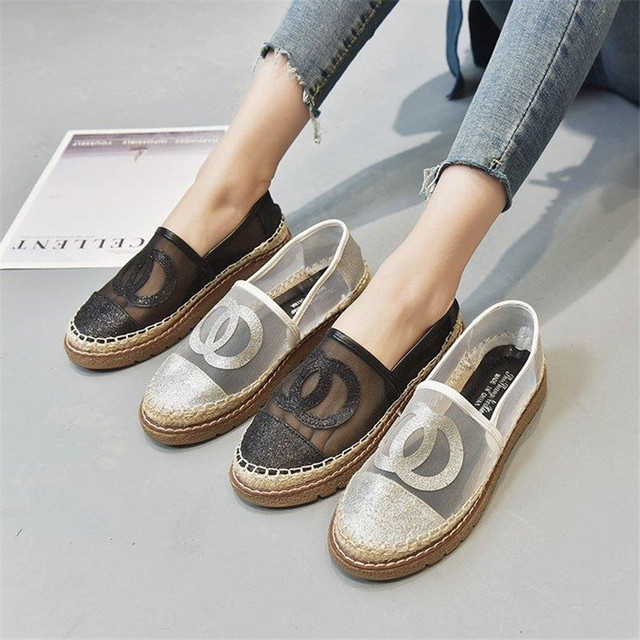 c755a9c9d5a 2019 Woman Espadrilles Brand Designer Women Lace Fisherman Chunky Slip-on  Casual Loafers Flats Comfortable Casual platform Shoes