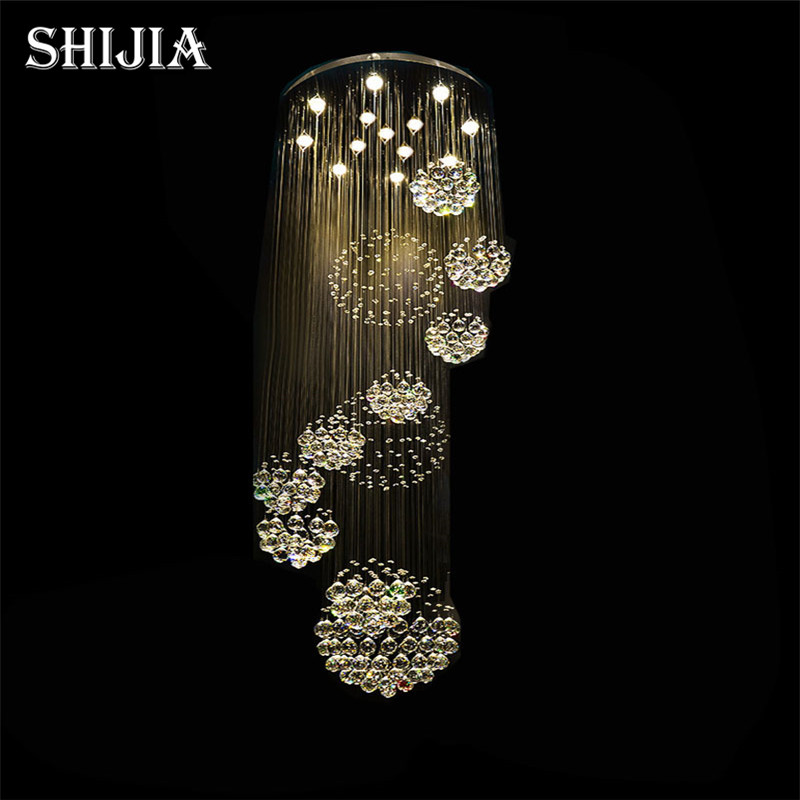 Online Get Cheap Large Crystal Chandeliers -Aliexpress.com ...:Modern Large Crystal Chandelier Light Fixture for Lobby, Staircase, Stairs,  Foyer Long Spiral,Lighting