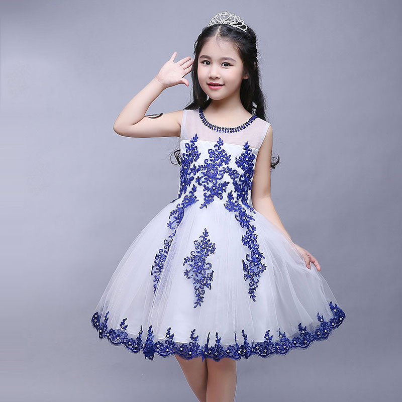 купить tutu princess dress appliques sequins sleeveless ball gown flower girl dresses elegant girls pageant dress for wedding perform дешево