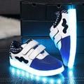 Coloridos crianças Sneakers LED menina sapatos de desporto de caminhada couro USB de carregamento luminosa Baby calçados Chaussure LED Enfant loja Online