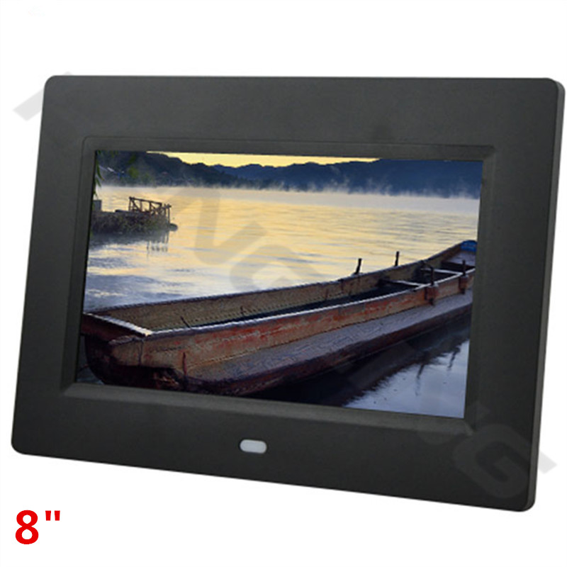 cheap digital photo frame 8 inch with sd digital picture frame music clock video marco digital 8010