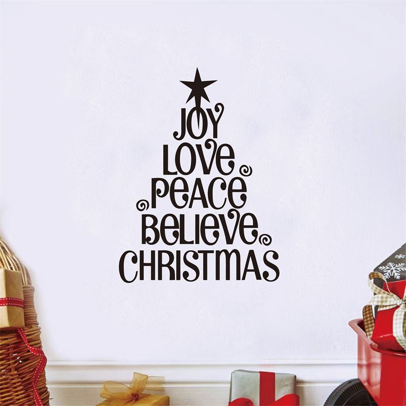 Christmas Tree Joy LoveChristmas Vinyl Words Lettering Christmas - christmas tree words