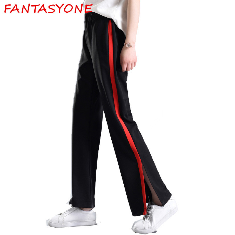 Fantasyone 2017 Women Long Pant Casual Style Side Belt Red