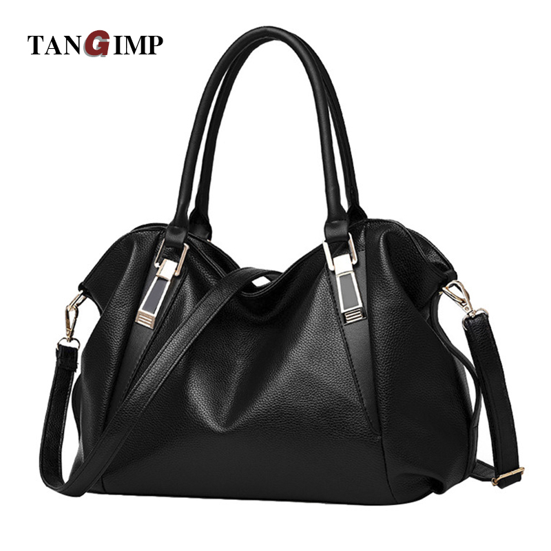 TANGIMP Women Leather Handbags Ladies Hobos Shoulder Cross Body Bags Large Capacity Shopping Bag Big Size Tote Bolsa Black 2017 casual women leather handbags bucket shoulder bags ladies cross body bags large capacity ladies shopping bag bolsa 6 colors