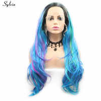 Sylvia Body Wave Wig Dark Root Light Blue Wigs Highlight Purple Natural Hairline Synthetic Lace Front Wigs For Women Drag Queen