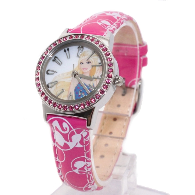 Lovely Fancy Watches For KIds New Magenta Band Round PNP Shiny Silver Watchcase Children Watch KW073A