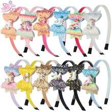 XIMA 12 stks/partij 2019 NIEUWE Eenhoorn Ontwerp Glitter 3 inch Haarelastiekjes voor Meisjes Prinses Haarband Hoofdband Party Haaraccessoires