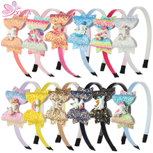 XIMA 12pcs/lot 2019 NEW Unicorn Design Glitter 3inch Hair Bows for Girls Princess Hairband Headband Party Hair Accessories