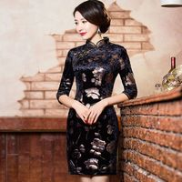 New Arrival Black Women S Velour Mini Cheongsam Fashion Chinese Style Dress Elegant Slim Qipao Size