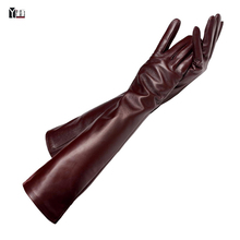 Free shipping 2015 winter lady fashion sheepskin leather gloves women genuine leather mittens female long style Elbow Gloves