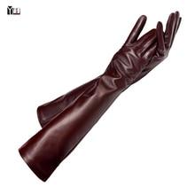 Бесплатная доставка 2015 зима леди мода овчины кожаные перчатки женщины натуральная кожа варежки женский стиль длинные Локтя Перчатки